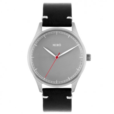 Grey face black leather strap
